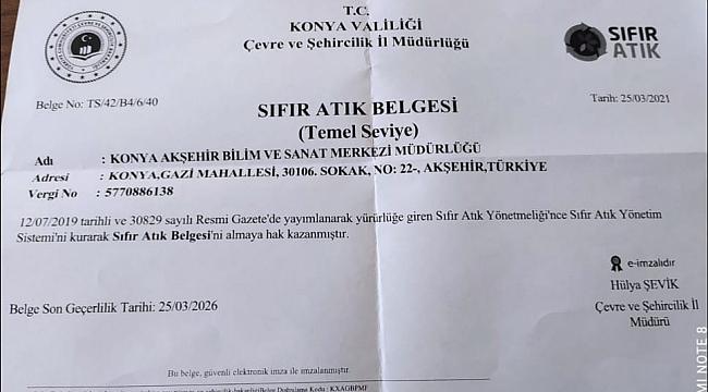 BİLSEM SIFIR ATIK BELGESİ ALDI